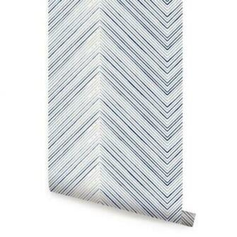 Chevron Lines Blue Peel Stick Fabric Wallpaper Repositionable