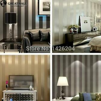 wall non woven black white silver gold glitter striped wallpaperwall