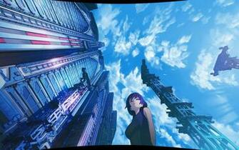 Anime Beauty Blue Buildings Wallpaper 13694 Wallpaper