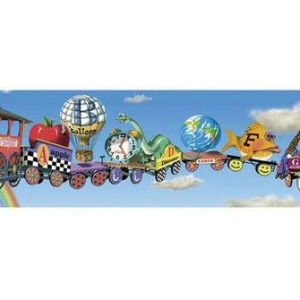 Walls Alphabet Train Mural Style Wallpaper Border   Walmartcom
