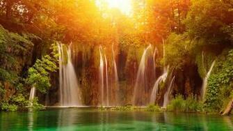 Waterfall Plitvice Lakes National Park Croatia UHD 4K Wallpaper