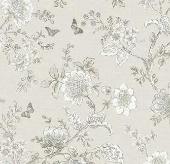 Wallpaper Gray Floral Toile Farmhouse Cottage Style Etsy