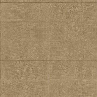 Contemporary Faux Leather Tan Soft Crocodile Wallpaper R3668 Double