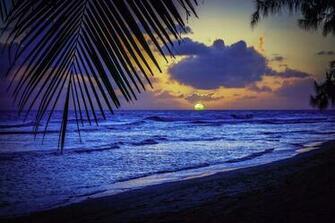 Caribbean Sea silhouette list sunset evening Barbados sun wallpaper
