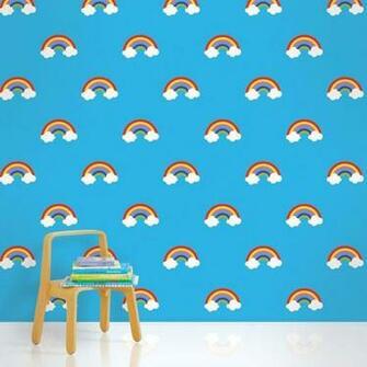 Rainbow Blue Removable Kids Wallpaper Kids WallPaper Pinterest