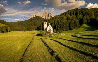 Wallpaper field mountains Italy Church Bolzano images for