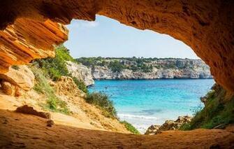 Wallpaper sea shore arch the grotto Mallorca park Mondrago