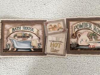 Bathroom Powder Room Primitive Country Bath Wallpaper Border eBay