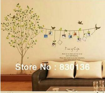 Cheap Cartoon Animal tree bird photo life PVC Wall Sticker Wall Decal