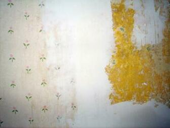 Renovation   Wallpaper Removal   Drywall Mud Used as Spackle The