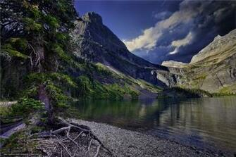 Download wallpaper Glacier National Park lake Mountains trees