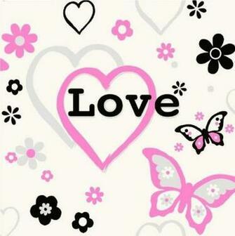 HEARTS FLOWERS BUTTERFLY CHILDREN KIDS GIRLS BEDROOM PINK WALLPAPER
