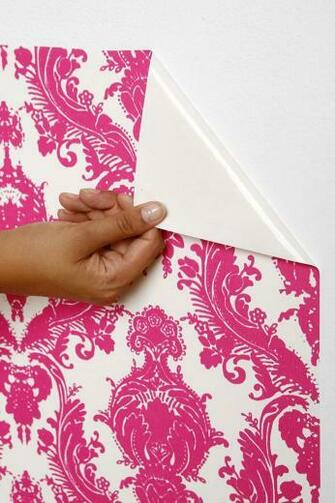 Damsel Wallpaper  Fuchsia Self adhesive and does not damage paint