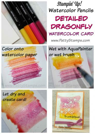 Watercolor pencil background tutorial for the Detailed Dragonfly