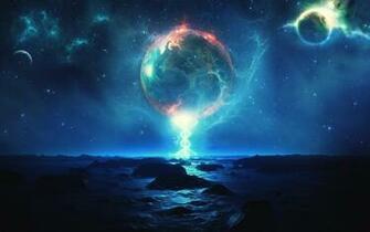 1920x1200 Magical Planets Ocean Rocks desktop PC and Mac wallpaper