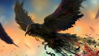 Bird chain art raven dark blood wallpaper 2727x1556 281544