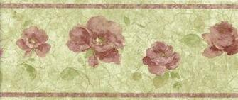 Red Burgundy Gold Flower Floral Wallpaper Wall Border