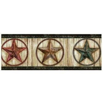 Theo Weathered Barn Star 15 x 75 3D Embossed Border Wallpaper