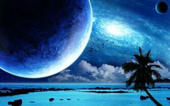 Interstellar Tropical Paradise desktop wallpaper