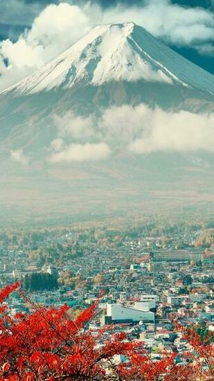 Download Mount Fuji Japan City iPhone 6 Wallpaper iPhone