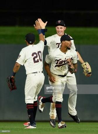 Eddie Rosario Max Kepler and Byron Buxton of the Minnesota Twins