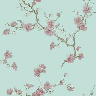 Flower Asian Style Textured Imitate Stitchwork Teal Wallpaper eBay