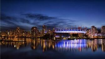 Vancouver City Night Blue Sky 1366 x 768 Download Close