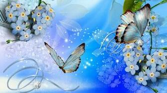 blue butterflies Blue Butterflies Blue Flowers Wallpaper