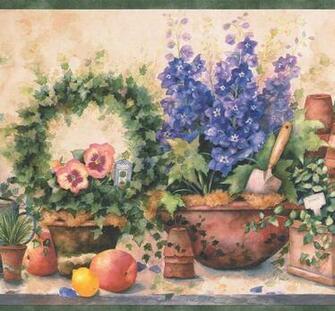 Purple Flowers in Pots Fruits Gardening Tools Farmhouse Wallpaper