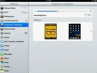 To set your iPads brightness go to Settings Brightness Wallpaper