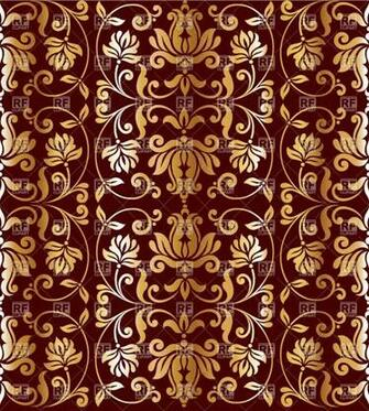 wallpaper with floral elements   golden retro ornament on burgundy