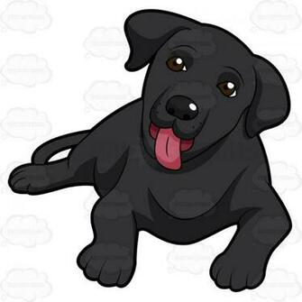 Cute Black Labrador Puppy Lying Down With Its Tongue Sticking Out 1