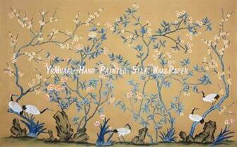 HD wallpaper Hand Painted Chinese Style Silk Wallpaper Murals Yrs by