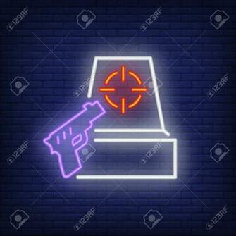 Shooter Game Neon Icon Gun And Target On Brick Wall Background
