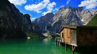 cabin on a mountain lake wallpaper 747350 stilt cabin lake mountain
