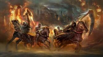 the four horsemen of the apocalypse fantasy hd wallpaper 1920x1080