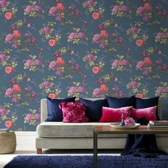 Brown Oriental Bird Motif Flower Floral Leaf Pattern Wallpaper 50 661