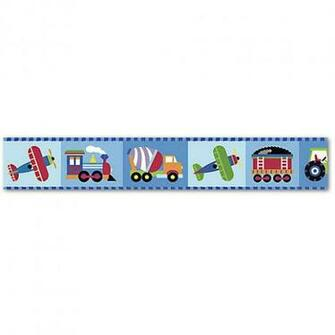 Discontinued Olive Kids Trains Planes and Trucks Wallpaper Border