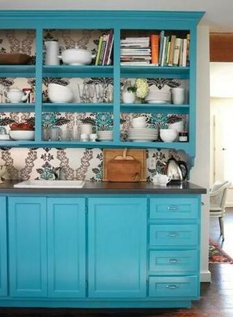 Remove the kitchen cupboards wallpaper the back wall and repaint the