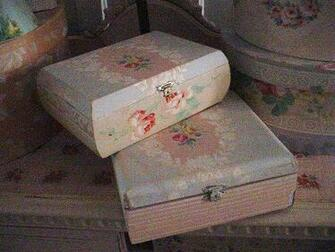 Vintage Wallpaper Cigar Box Cottage Chic Recycled Pink Roses Pretty