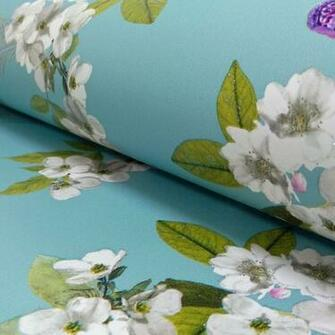 Floral Pattern Bird Butterfly Flower Motif Glitter Wallpaper 670400