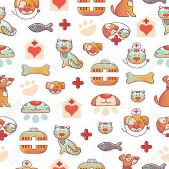 Veterinary Pets Clinic Animal Seamless Pattern Background Dogs