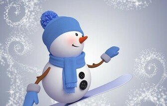 Wallpaper snowman 3d cute christmas new year snowman snowboard