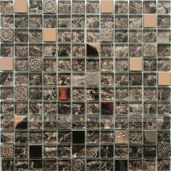 Glass stainless steel rose gold bronze resin mosaic mirror tile 143