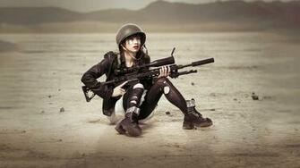 for show sha Women with Remington XM2010 Sniper Rifle HD Wallpaper