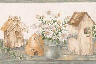 White Chamomile Flowers Birdhouses Farmhouse Wallpaper Border