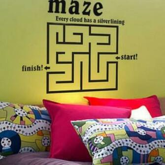 All matching Removable Wallpaper Wall Stickers with Labyrinth Pattern