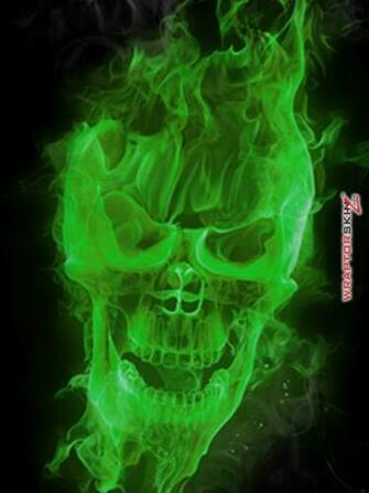 Go Back Images For Green Flaming Skull Wallpaper