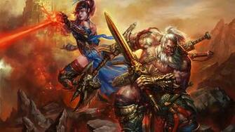 Diablo III barbarian and mage wallpapers and images   wallpapers