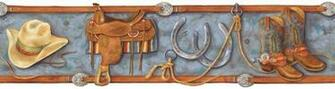 Boys Western Ranch Wallpaper Border GU92161B Cowboy Boot blue brown